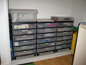 12x12 drawers labelled and tidy